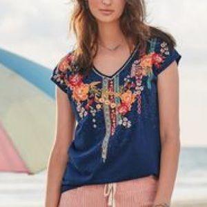 Sundance embroidered v neck cotton t shirt